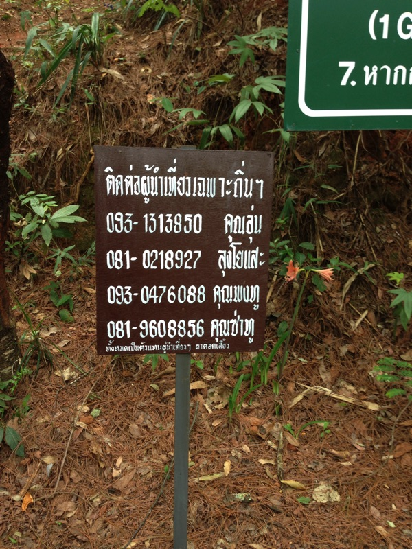 Guide sign Mae Klang Luang trail